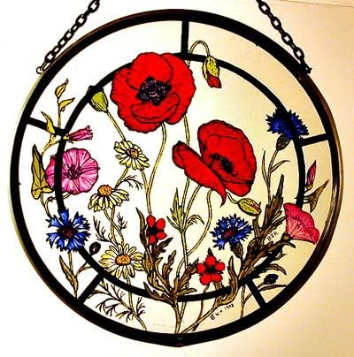 Decorative Hand Painted Stained Glass Window Sun Catcher 1