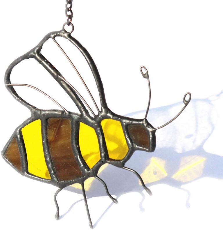 HAOSUM Bee Decor Stained Glass Window Hangings Ornament