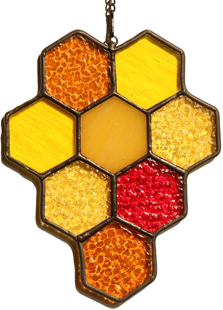 HAOSUM Bee Honeycomb Stained Glass Window Hangings Sun Catcher Ornament