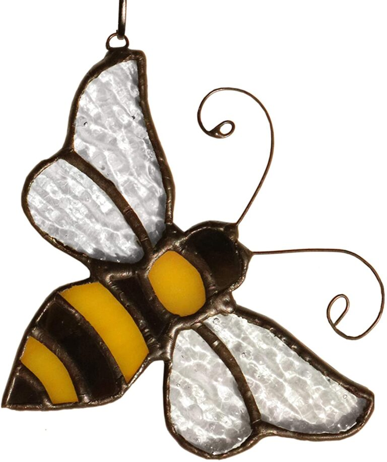 HAOSUM Bumble Bee Ornament Stained Glass Window Hanging Suncatcher