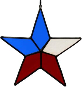 HAOSUM Star Stained Glass Window Hangings,Patriotic Star Hangings Ornament Gift