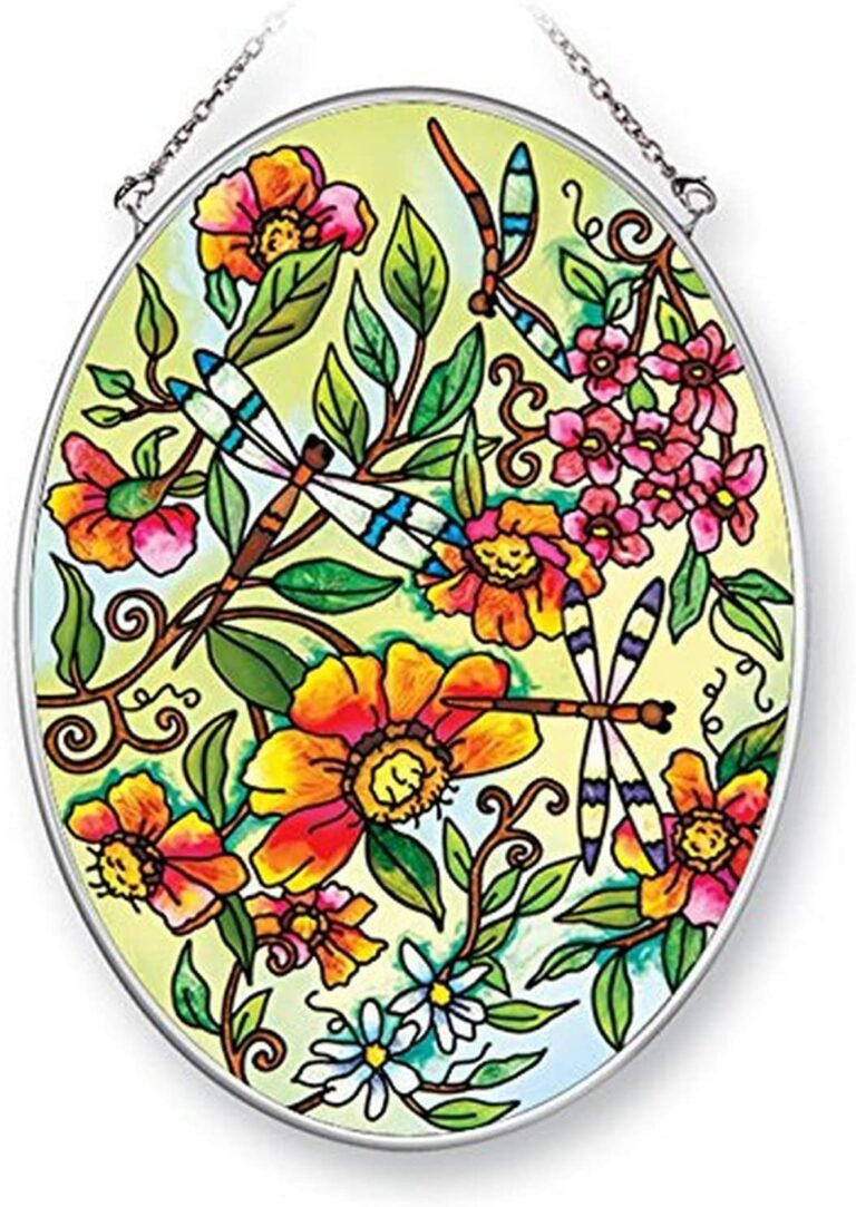 Amia Dragonflies in Floral, Hand-Painted Glass Oval Suncatcher