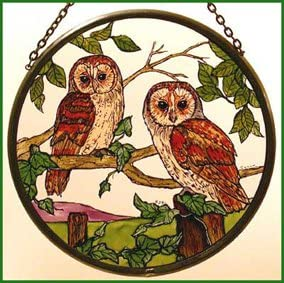 Decorative Hand Painted Stained Glass Window Sun Catcher owl