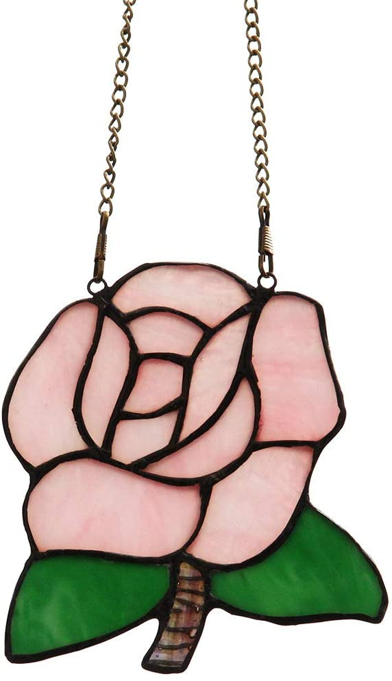 Makenier Tiffany Style Stained Glass Pink Rose Window Hanging Sun Catcher